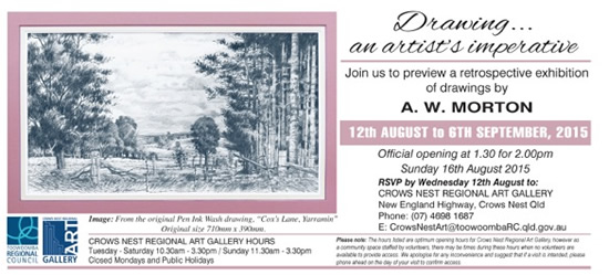 major solo art exhibition of drawings at the Crows Nest Reginal Art Gallery