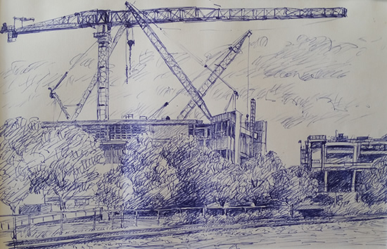 Sketch for proposed work View from northern side.