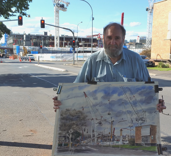"Bill Morton on location with ""Toowoomba Under Construction"""