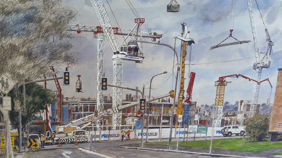 "Detail of ""Toowoomba Under Construction"" 700mm x 570mm"