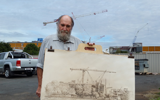 "Bill with his new work ""View from northern side"""