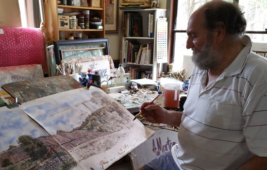 Bill Morton at work on part of the Toowoomba range crossing collection for his upcoming Exhibition