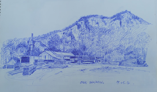 "Quickie Sketch for proposed work ""Esk Saw Mill"""