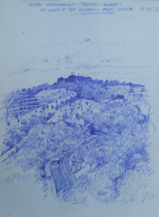 "Quickie Sketch for proposed work ""Mt Lofty & the Quarry""."