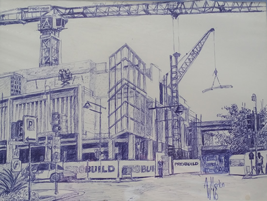 "Sketch for proposed work ""View from Northern side Gate 2""."